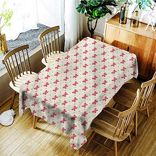 PriceTextile Retro,Tablecovers Rectangular Cute Pink Retro Dots 60