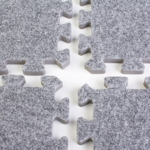 Displays2go Interlocking Mats is Charcoal Grey Carpeted Foam for Trade Show Flooring - 10 x 10 Feet (TS10DGYEC) ()