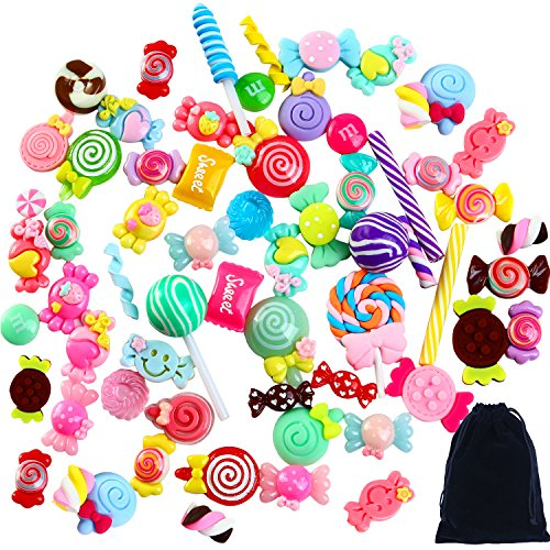 Aneco 60 Pieces Slime Charms Mixed Resin Candy Sweets Beads Slime Bead Making Supplies with Drawstring Pouch for DIY Crafts Scrapbooking -