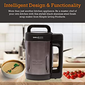 Simple Living Products 1.6L Deluxe Portable Soup Maker. Hot Soup Maker Machine is a 4-in-1 Applaince, Soup Maker, Blender, Soy Milk Maker and Juicer. Homemade Nutritious Soups in 30 Minutes.