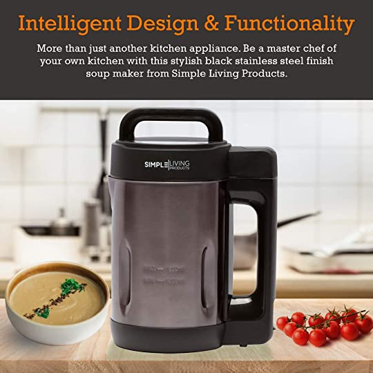 Simple Living Products 1.6L Deluxe Portable Soup Maker. Hot Soup Maker Machine is a 4-in-1 Applaince