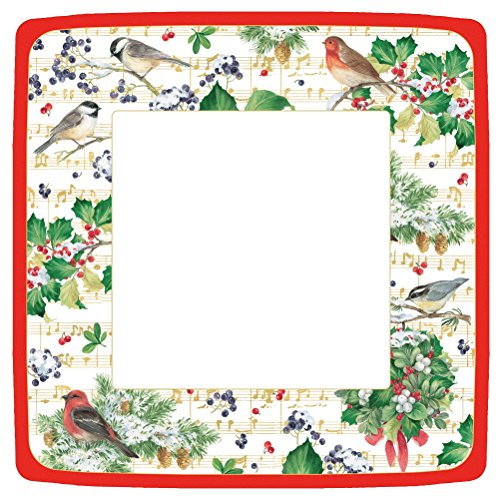 (Entertaining with Caspari  Winter Song Square Dinner Plates, Green, Pack of)