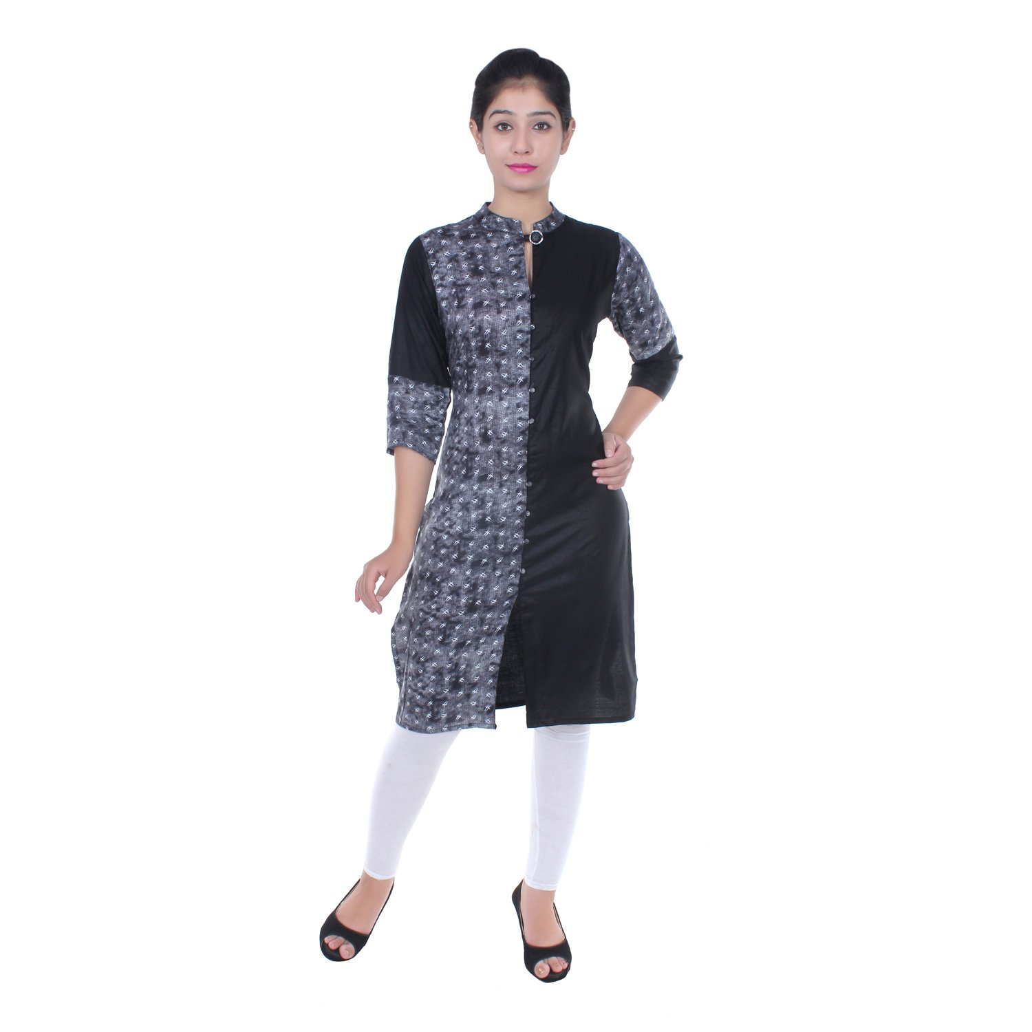 Chichi Indian Women Kurta Kurti 3/4 Sleeve Medium Size Plain with One Side Printed Straight Black-White Top by CHI (Image #6)