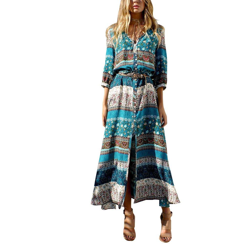 Hengzhi Womens Summer Casual Loose Mini Dress Boho dresses Sundress Swing Beach Dresses