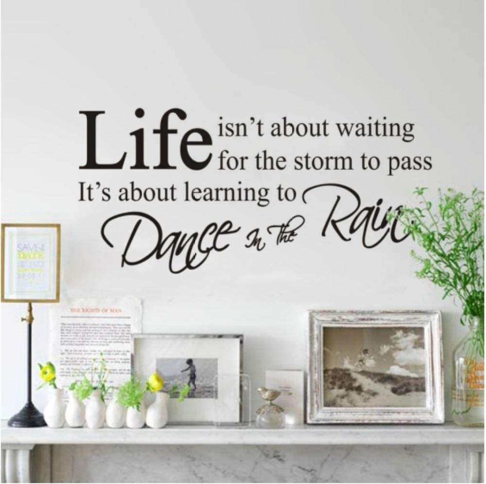 YHKYGM Fashion Quotes Decals Removabler Life IsnT About Waiting Vinyl Home Decorations Wall Stickers 35X75Cm