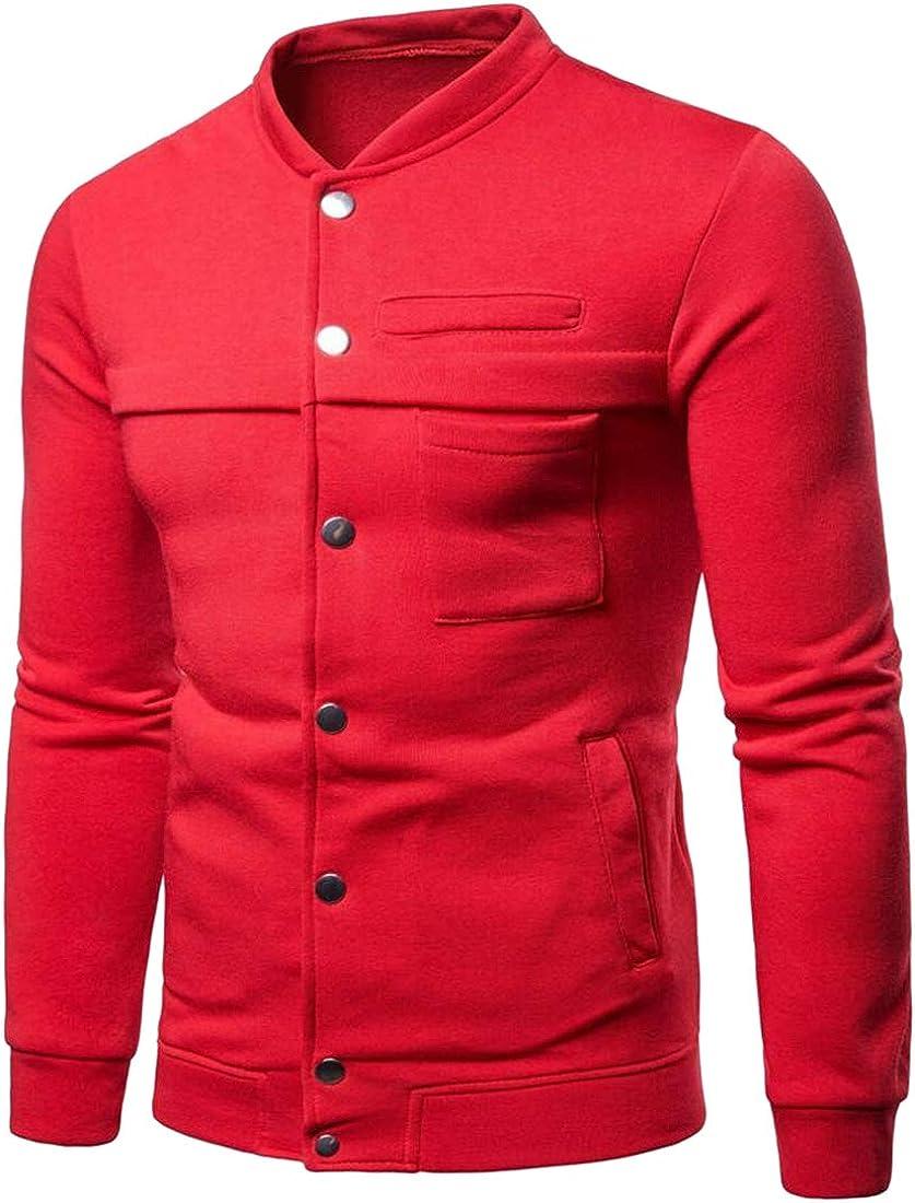 OTW Men Stand Collar Button Up Casual Vogue Solid Slim Sweatshirts