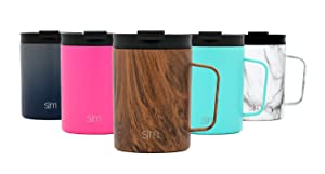 Simple Modern 12oz Scout Coffee Mug Tumbler - Travel Cup for Men & Women Vacuum Insulated Camping Tea Flask with Lid 18/8 Stainless Steel Hydro Pattern: Wood Grain
