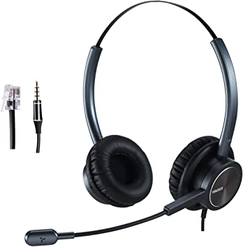 Amazon Com Phone Headset Rj9 For Office Call Center With Noise Cancelling Microphone Work For Yealink Grandstream Snom Panasonic Plus 3 5mm Connector For Iphone Samsung Home Audio Theater