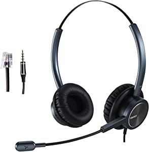 Phone Headset RJ9 for Office Call Center with Noise Cancelling Microphone for Yealink Grandstream Snom Panasonic Plus 3.5mm Connector for iPhone Samsung