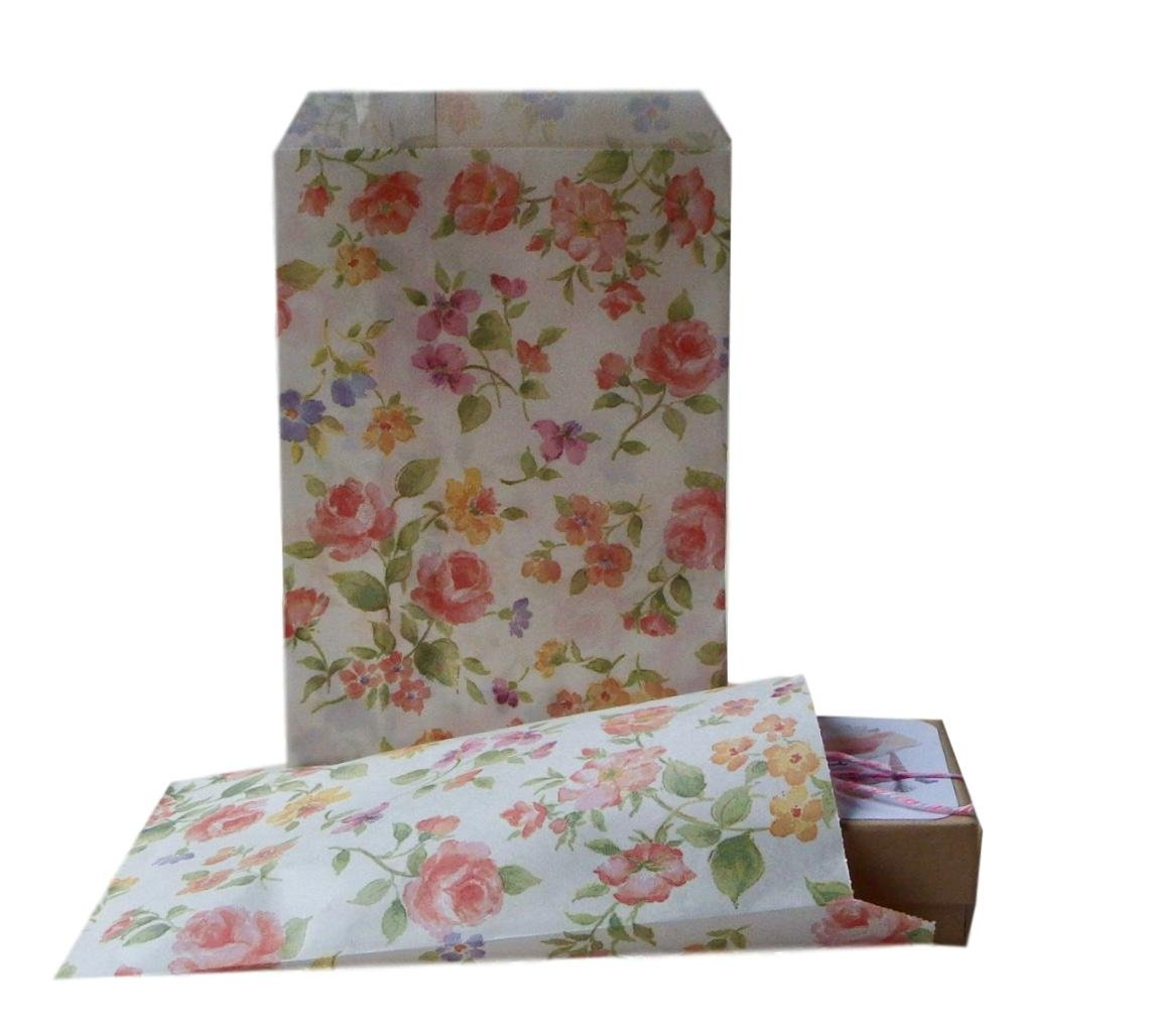 Small Floral Flat Paper Bags 25 Count Roma Bags Non Gusset Wedding Favor Bags Party Favors