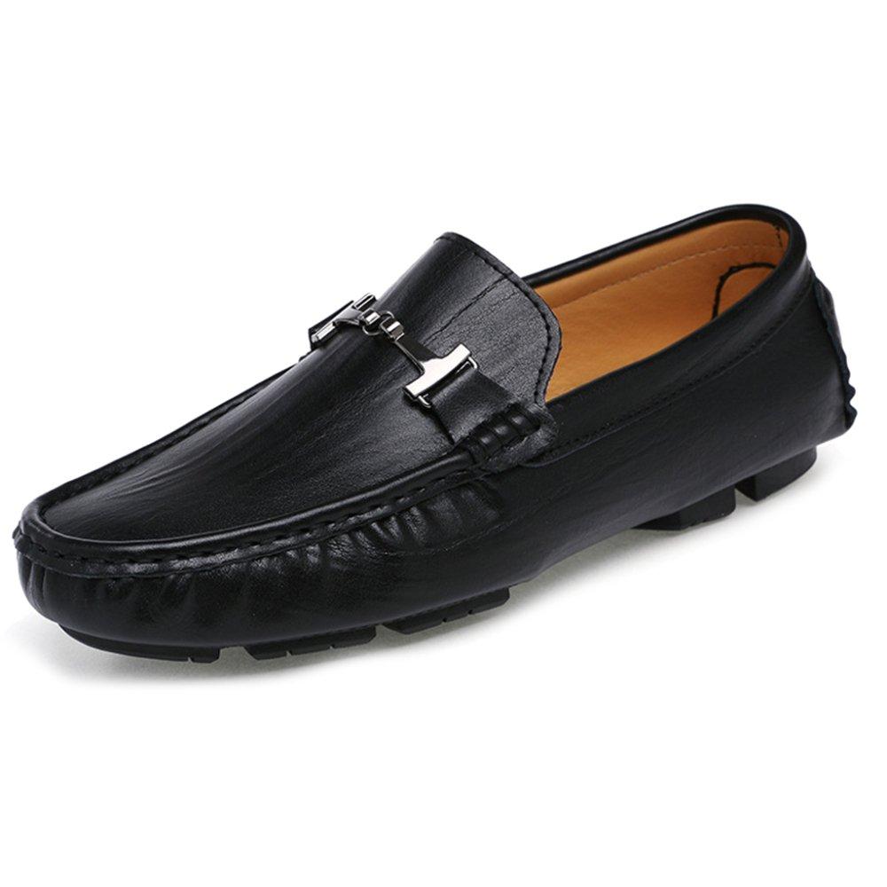 MERRYHE Zapatos De Cuero Clásicos del Barco De Los Hombres Mocasines Planos Resbalón En Mocasines Zapato De La Cubierta Calzado De Conducción,Black-46 46|Black