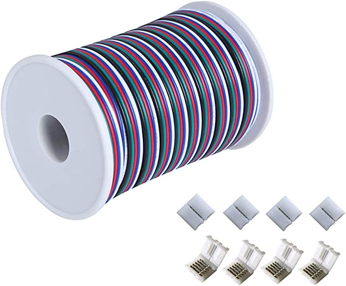 C-able 65.6ft(20m) RGBW Wire Extension Cable with Spool, 12V RGBW 5Pin Led Lights Wires Strip Kit Extend Wire for 5050 3528, with 8PCS RGBW Led Strip Connectors