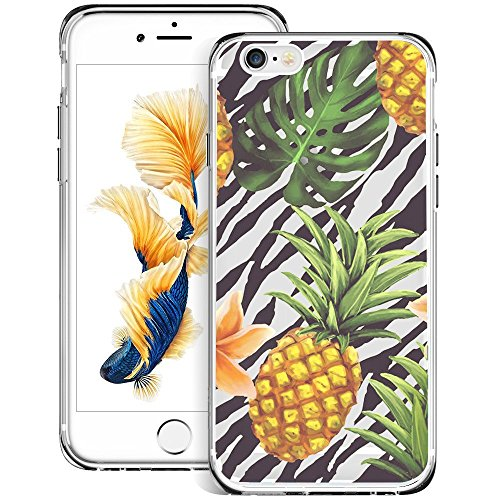 Creative Designs Pineapple on Zebra Crystal Transparent Anti-scratch Phone Case for iPhone 6s plus 6 -