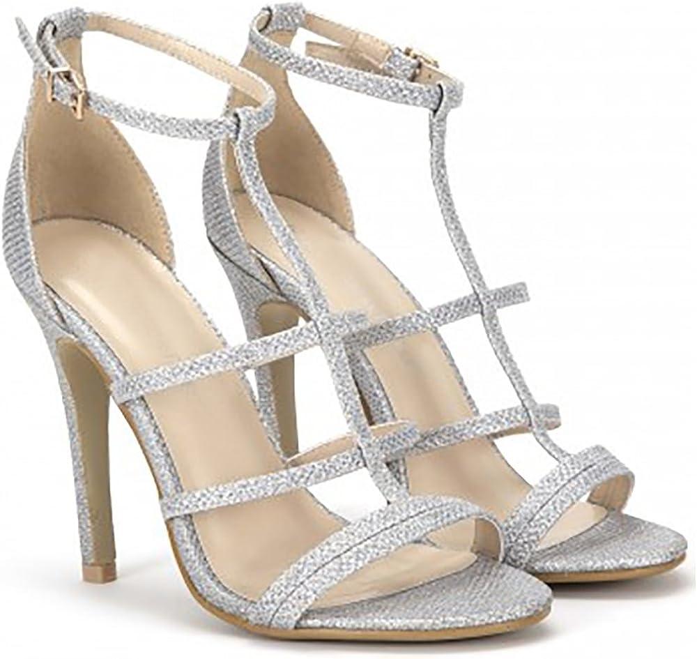 Shoe Closet Ladies Silver Glitter