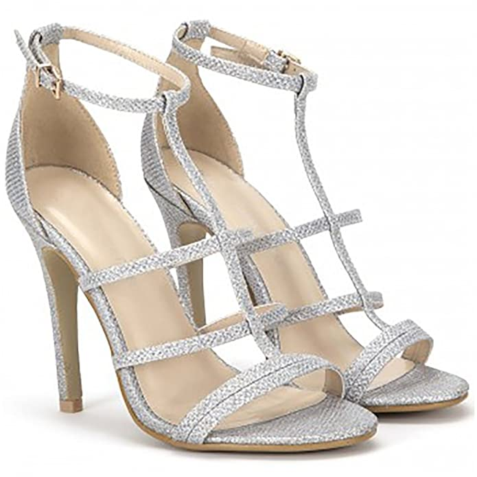 ecbd1038d97 Shoe Closet Ladies Silver Glitter Sparkly Strappy Open Toe Stiletto HIGH  Heels  Amazon.co.uk  Shoes   Bags
