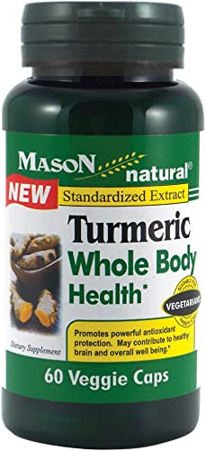 Mason Natural, Turmeric Whole Body Health Veggie Capsules, 60 Count, Herbal Dietary Supplement Supports Brain Health, Promotes a Balanced Mood and Appetite