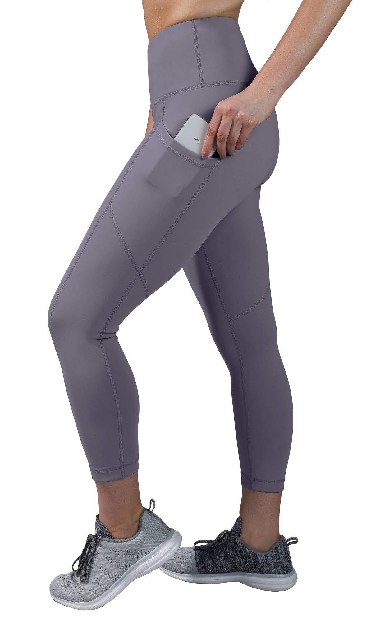 90 Degree By Reflex High Waist Squat Proof Yoga Capri Leggings with Side Phone Pockets - Grey Opal - Medium by 90 Degree By Reflex
