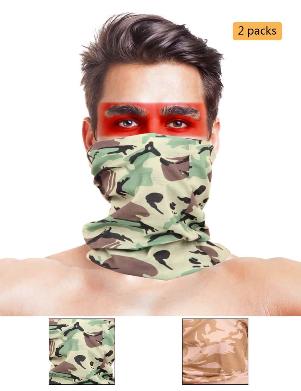 LOOGU 12-in-1 Headband Hunting Blind Tree Camo Multifunctional Seamless Bandanas Headwear (British DPM 2-1, 9.5 x 19 Inches / 24 x 49 cm)