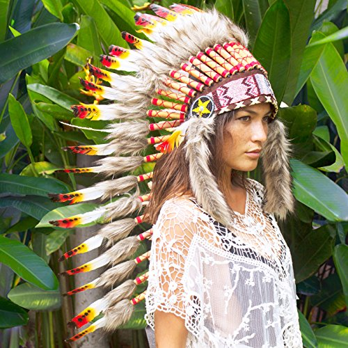 Long Feather Headdress- Native American Indian Inspired- Handmade by Artisan Halloween Costume for Men Women with Real Feathers - Multicolor (Chief Indian Princess Costume)