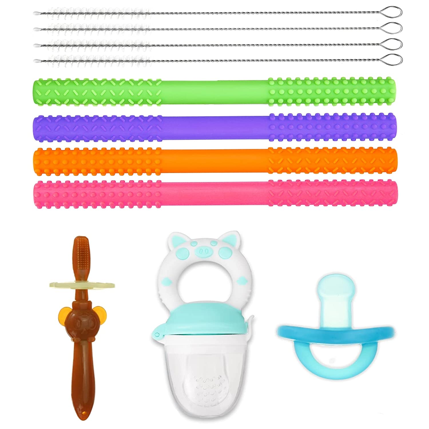 LIUMY Baby Teething Toys Set(7-Piece),Teething Tubes   Fruit Feeder Pacifier   Toothbrush Teether   Baby Pacifier   Silicone Teetherfor Babies to Soothe Tender Gums