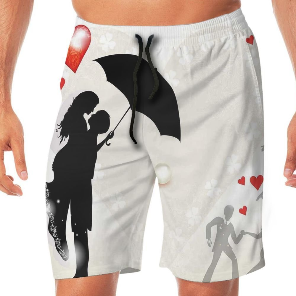 Haixia Men Funny Board Short Wedding Decorations Couple in Love Umbrella Red He