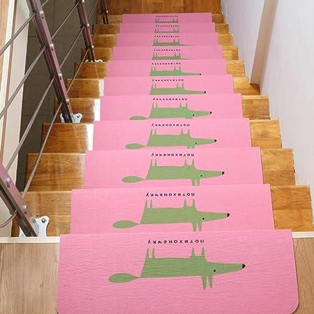 Escalera antideslizante, 3 juegos de escaleras, alfombrilla luminosa para interiores, forro adhesivo para luz nocturna, decoración de escaleras de madera (juego de 3), rosa, 55 x 20,5 x 4,5 cm: Amazon.es: Hogar