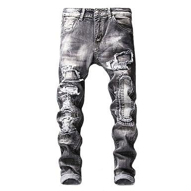 Mieuid Hombre Pantalones Vaqueros Delgados del Estiramiento ...
