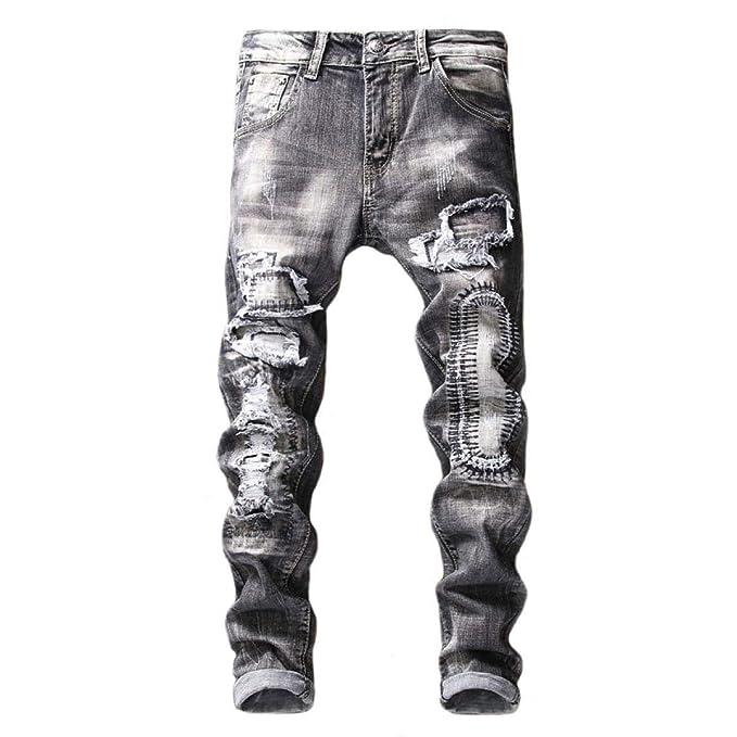 Pantalones Vaqueros Delgados del Estiramiento De Los Hombres ...