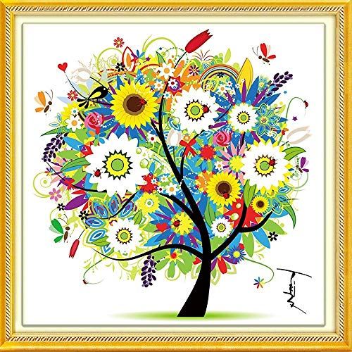 DIY Cross Stitch Kits Handmade Needlework Embroidery Kits Colorful Tree Home Decoration Summer Season ()