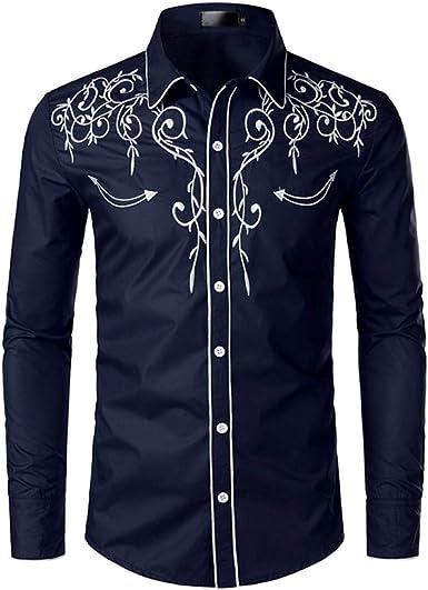 JINYAUN Camisa de Vaquero Occidental con Estilo, Camisas de Manga Larga Informales Ajustadas con Bordado de para Hombre, Camisa de Fiesta de Boda para Hombre: Amazon.es: Ropa y accesorios