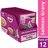 Whiskas Salmon in Gravy, Wet Gravy Food for Adult Cats, 85 g Pouch (Pack of 12)