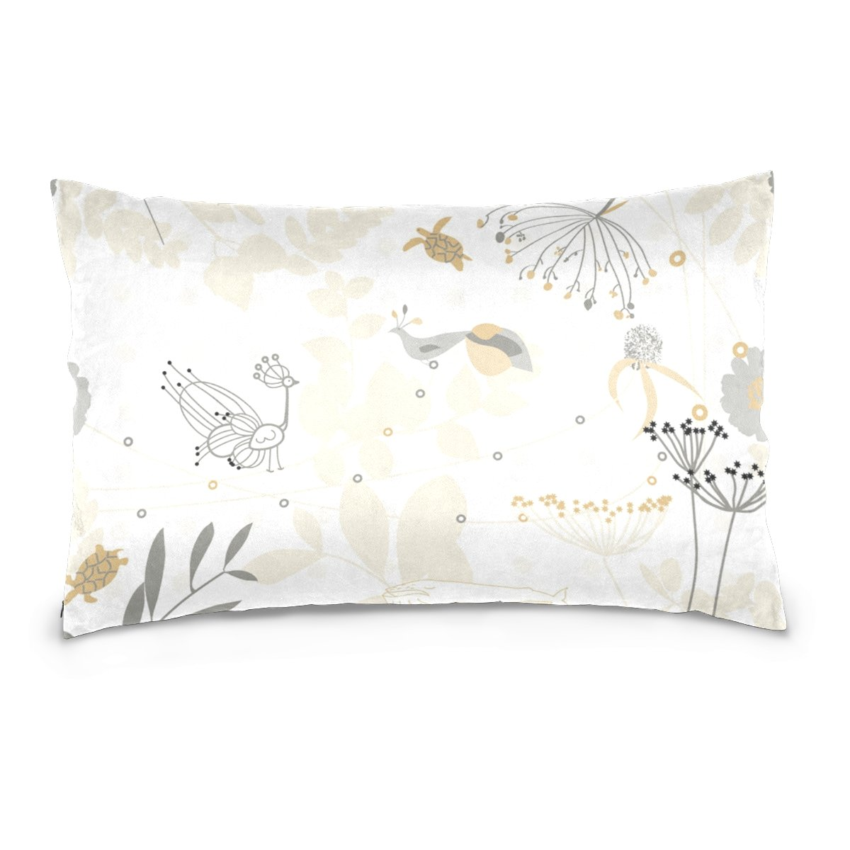 THENAHOME Pillow Covers Pillow Protectors Bed Bug Dust Mite Resistant Standard Pillow Cases Cotton Sateen Allergy Proof Soft Quality Covers with Abstract Animals And Floral for Bedding