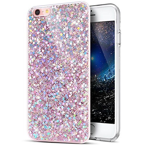 iPhone 6S Plus Case,iPhone 6 Plus Case,ikasus Sparkly Shiny Glitter Bling Powder 3D Diamond Paillette Slim Glitter Flexible Soft Rubber Gel TPU Protective Case Cover for iPhone 6S/6 Plus 5.5