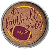 Occasionally Made Mason Jar Lid Coaster Stack, Maroon/Yellow, 4 Piece