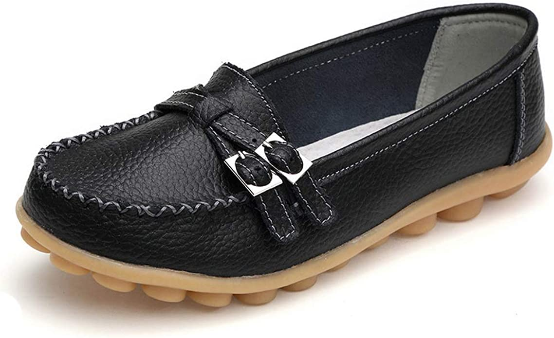 New Genuine Leather Women Flat Shoes Casual Loafers Slip On Womens Flats Shoes Moccasins Lady Driving Sh Royal Blue