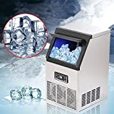 Auto Commercial Ice Cube Maker, Stainless Steel Freestanding Cooled Machine Bin, 110Lbs/24hr 110V By VicoLife