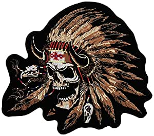 """Hot Leathers Indian Skull Patch (12"""" Width x 1"""" Height)"""