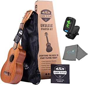 Kala Learn To Play Ukulele Soprano Starter Kit includes Online Lessons, Tote Bag, App & Book Bundle with a Tuner and Lumintrail Polishing Cloth