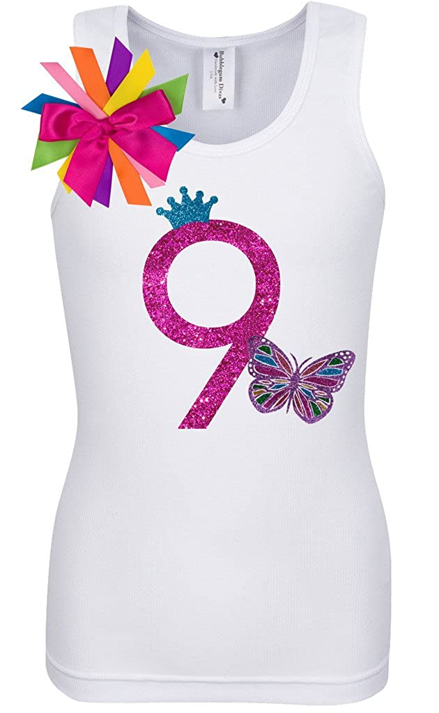 Bubblegum Divas Big Girls 9th Birthday Rainbow Butterfly Shirt