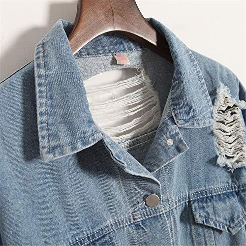 Outerwear Denim Loose Pragmaticv Embroidery Color Applique Wash BF Vintage Back Fashion Jacket Female Water Blue Distrressed Letter Denim Hole Coat zaXzq