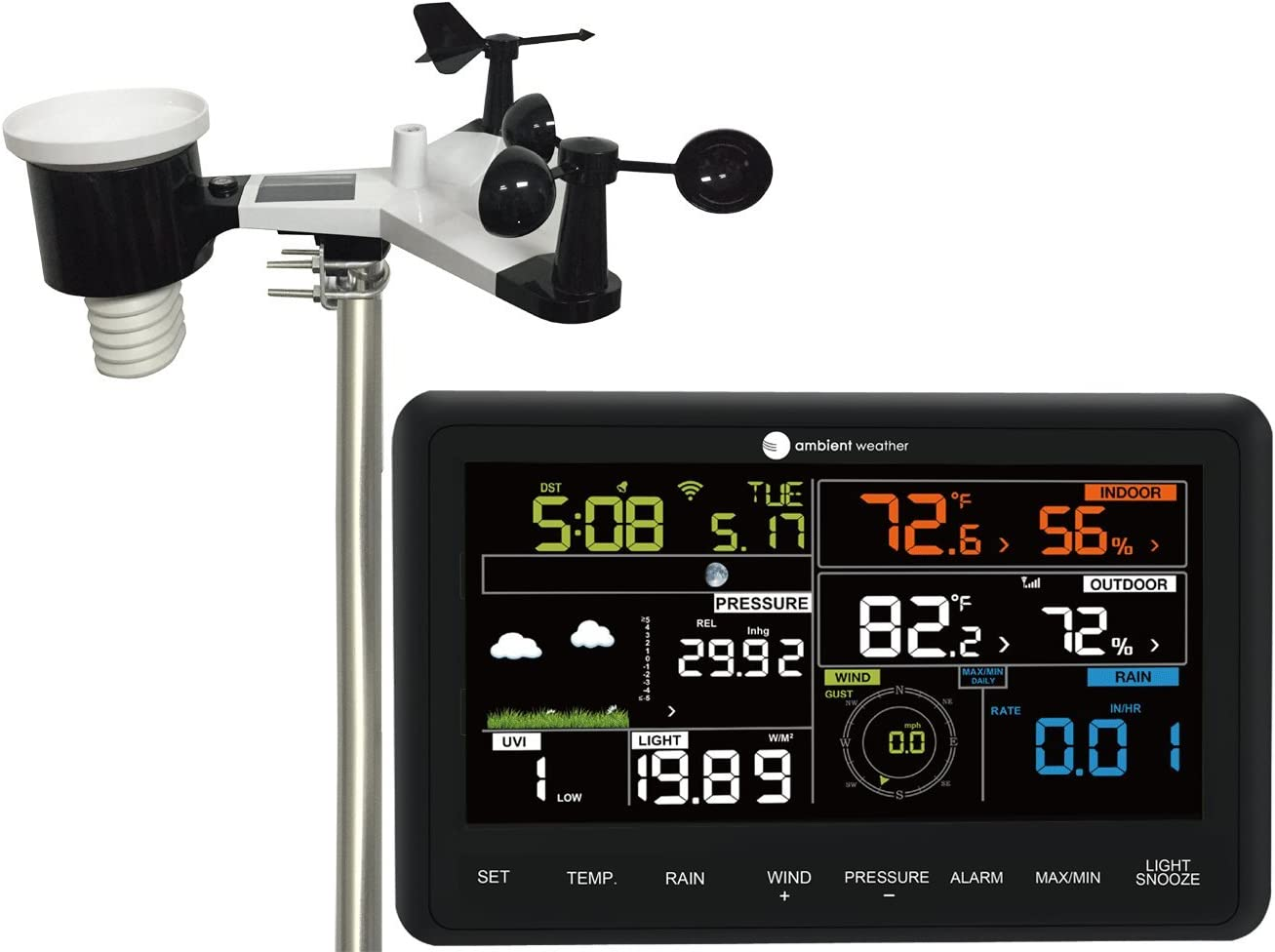 Ambient Weather WS-2902A 10-in-1 Wi-Fi Professional Weather Station with with