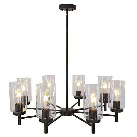 Vinluz Contemporary Chandeliers Large 8 Lights Oil Rubbed Bronze Modern Lighting Fixtures Hanging Clear Glass Shades Pendant Light For Dining Room