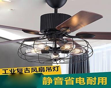 Ventilador de techo Retro industriales, salón restaurante, silenciar el ventilador, lámparas de diseño creativo americano ventilador de techo lámpara decorativa,B: Amazon.es: Iluminación