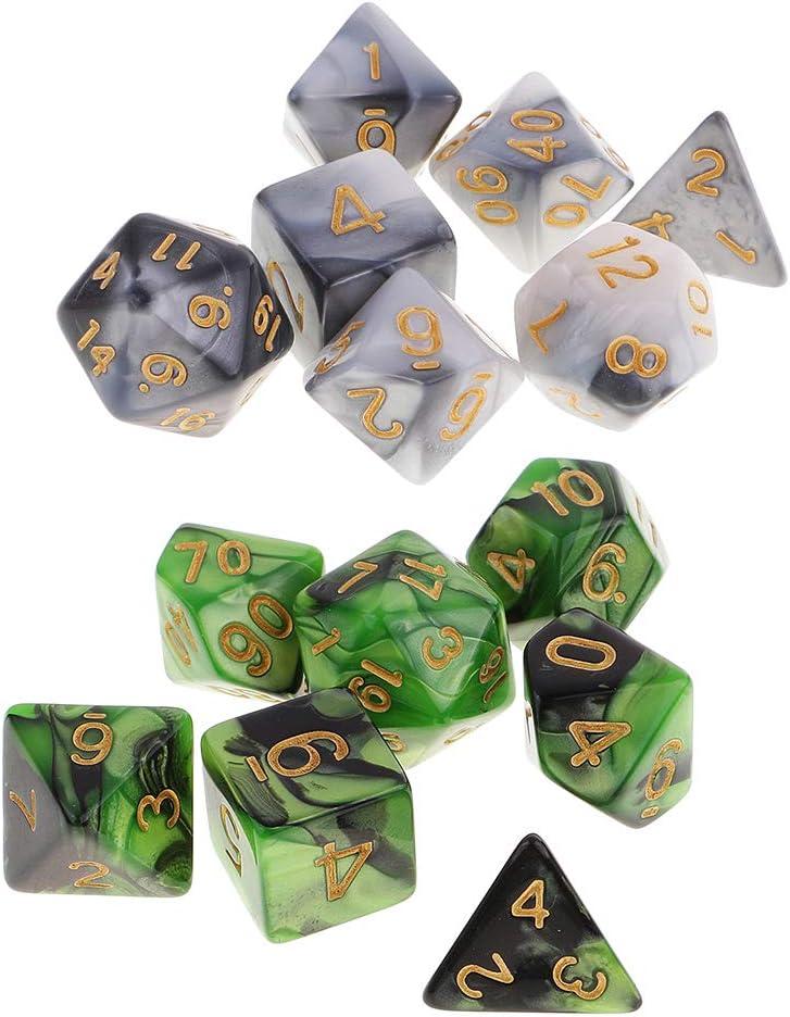 Baoblaze Paquete De 14 Dados Poliédricos para Mazmorras Y Dragones Juego De Mesa RPG A Granel Verde Y Gris: Amazon.es: Juguetes y juegos