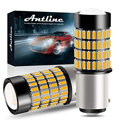 1157 LED Bulbs, ANTLINE Super Bright 4014 102-SMD 2057 1157 2357 7528 2057A 1157A LED Bbulbs with Projector for Turn Signal Blinker Lights, Parking/Running Side Marker Lights, Amber Yellow(Pack of 2): Automotive