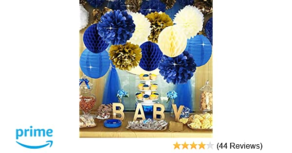 Baby Shower Decorations Navy Cream Gold Bridal Tissue Pom Flower Honeycomb Balls For 1st Birthday Boy Prince Party Supplies