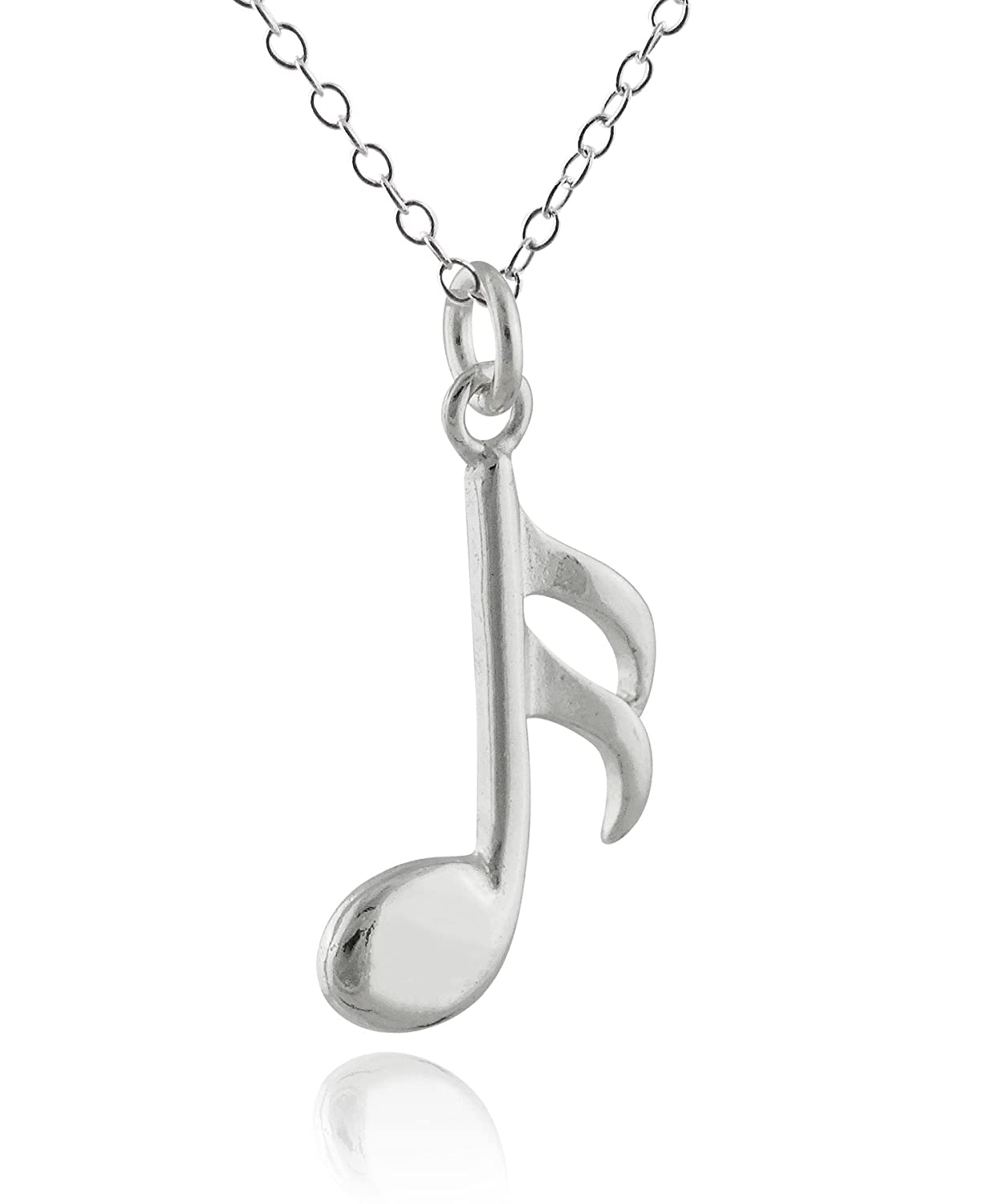 FashionJunkie4Life Sterling Silver Sixteenth Music Note Charm Pendant Necklace 18 Chain