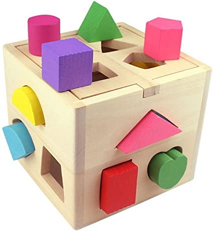 Fablcrew Cube de Tri De Formes,Jeu de Blocs en Bois Jouet /éducatif pour B/éb/és Enfants Blocs de Construction Jeu dapprentissage de Formes G/éom/étriques 13 Trous