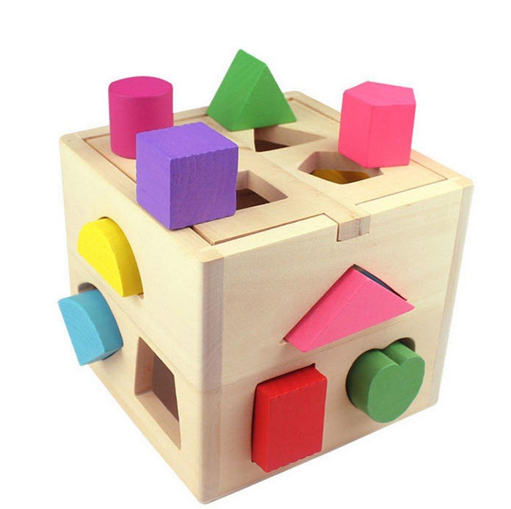 Ruikey Cube De Tri De Formes,Boite a Forme Bois Avec 13 formes de Blocs de Bois pour Enfants