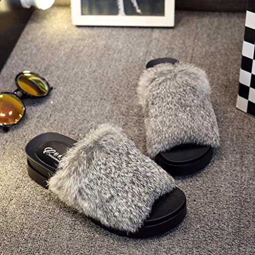DM&Y 2017 Conejo verdadera palabra de arrastrar la se?orita Mao Zhonggen pat¨ªn zapatillas zapatillas de felpa gruesa corteza de la moda gray